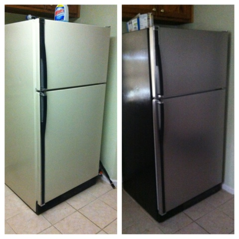 Diy Stainless Steel Refrigerator From White To Stainless Look