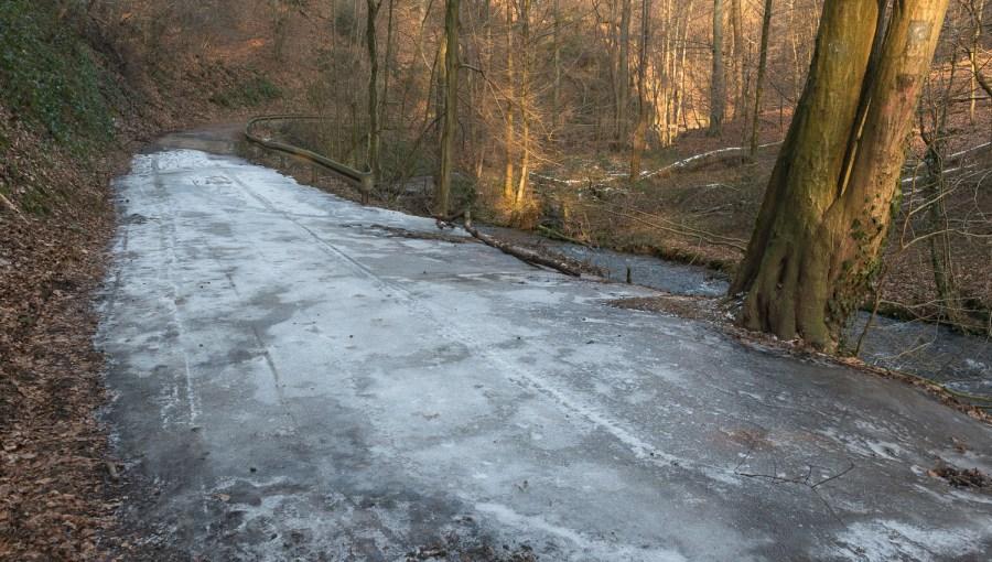Überfrorener Weg im Murbachtal