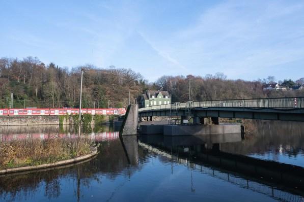 Schwimmbrücke Dahlhausen auf dem Rückweg
