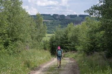 Petra läuft bergauf zum Beulberg