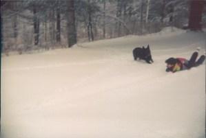 Sledding with my dog Waterbury, Vermont Jan 1995