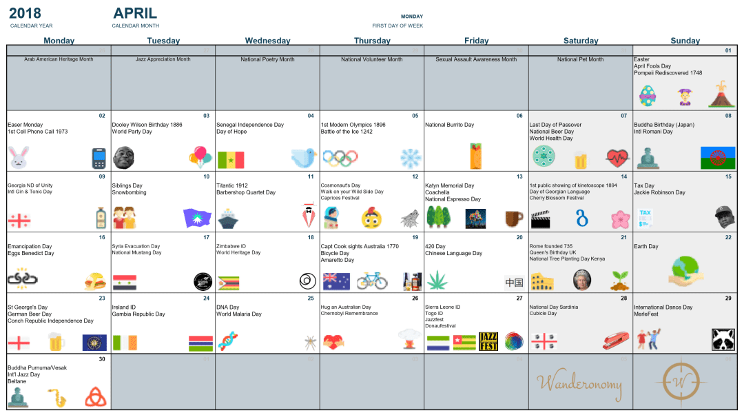 Wanderonomy April Event Calendar
