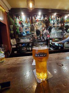 Enjoying a Bulmer's cider at The Brazen Head Pub, Dublin, Ireland