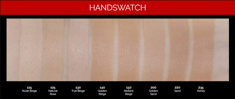 8 shades available for L'Oreal Infallible foundation 24 H range. Image source: Hermo