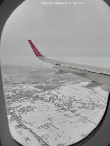 pristina kosovo snow airplane view