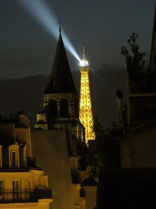 Eiffel Tower all lit up.