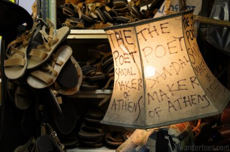 Lamp inside Melissinos, the Poet Sandal Maker's, shop. Map of Plaka Athens Things to Do