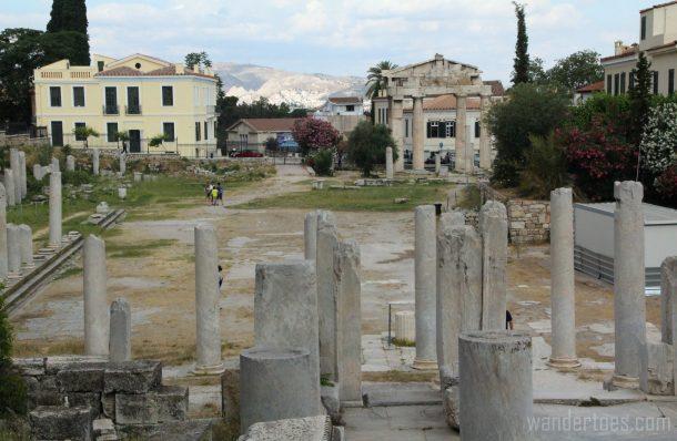 Roman Agora in Plaka, Athens.  Map of Plaka Athens Things to Do