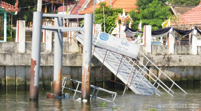 A collapsed water taxi dock. Bangkok Chao Phraya Water Taxi