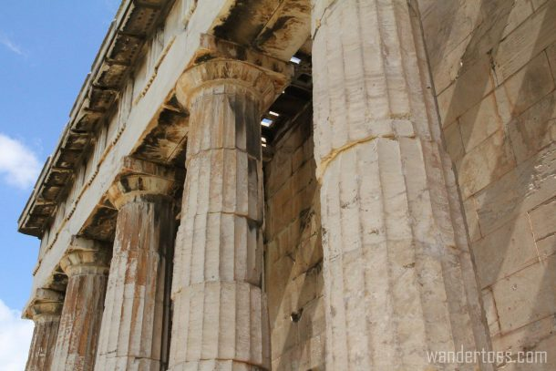 Detail of Temple of Hephaestus in Ancient Agora of Athens
