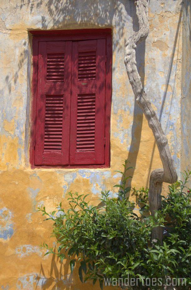 Anafiotika Plaka Athens Greece red window shutter travel photogrpahy