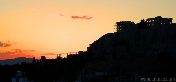 Acropolis at Sunset. Map of Plaka Athens Things to Do