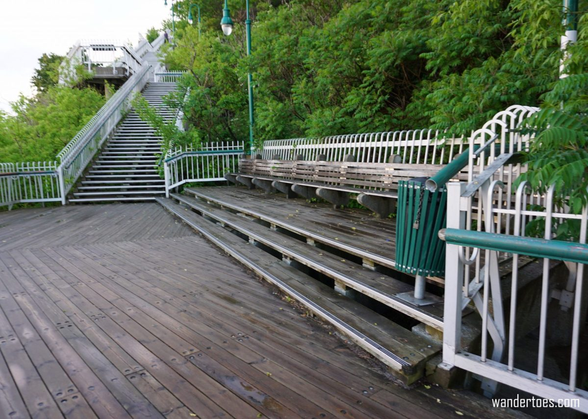 Promenade des Gouverneurs stairs seating viewing area solo female travel solo mom travel