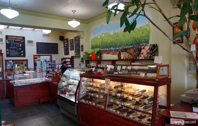 Enrico chocolate shop interior. Quebec City shopping artisan souvenirs.