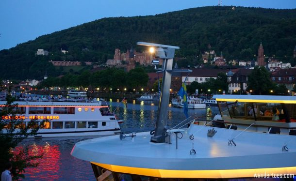 Scloss Heidelberg fireworks view blocked by boat