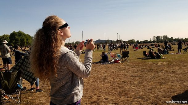 Katie poised for Totality. Eclipse 2017 totality photos