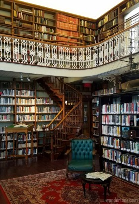 Original, wooden, spiral staircase in Morrin Centre library