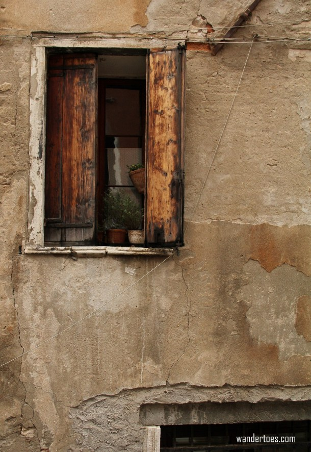 Brown Wood Shuttered Window Venice