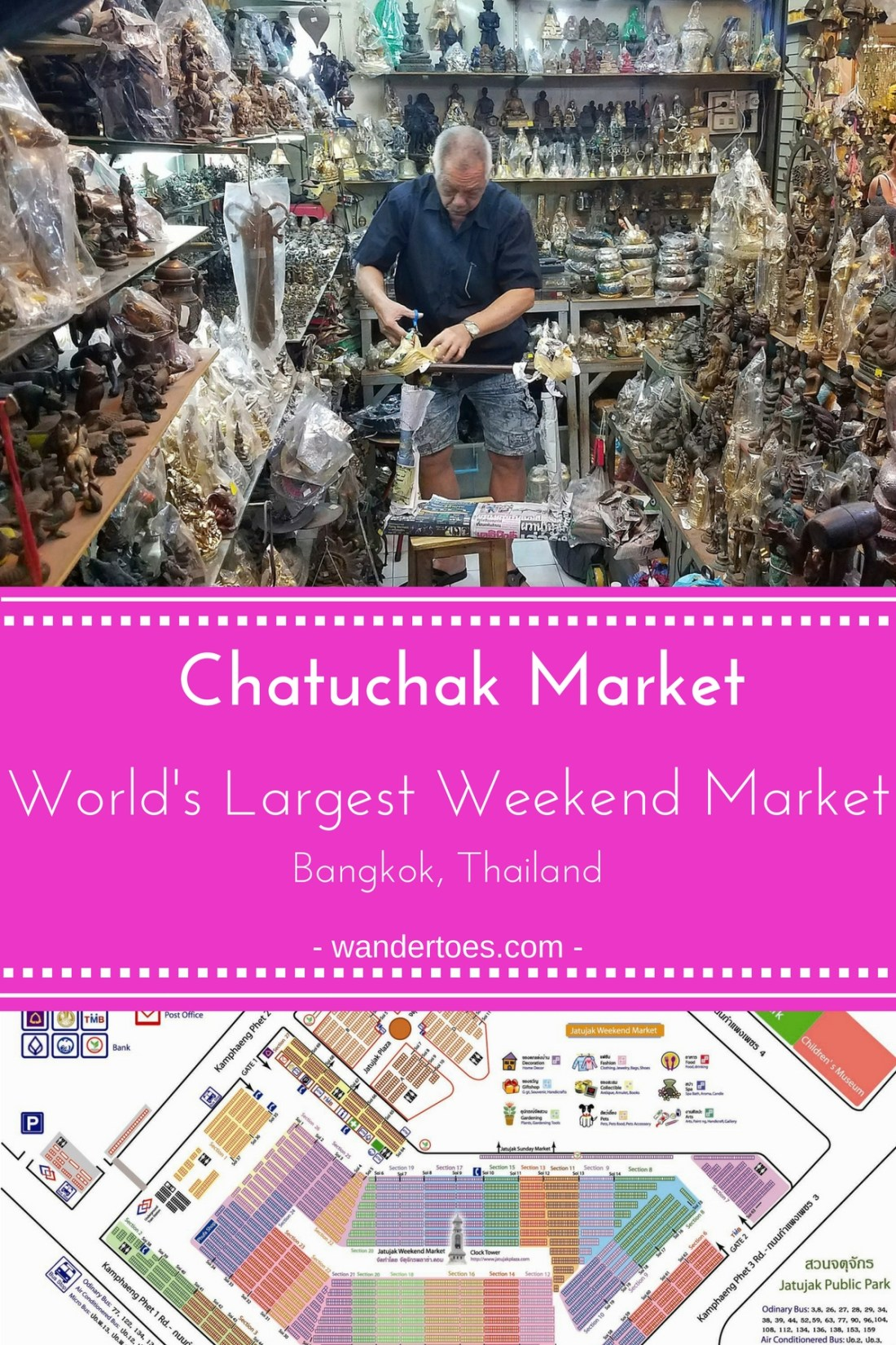 Bangkok, Thailand: Chatuchak Market is the Largest Weekend Market in the World - and completely deserves the title! Visit for that hard to find Bangkok Souvenir, to decorate your home, or get anything else you might be looking for. | Chatuchak Market | Chatuchak Map | Bangkok Market | World's Largest Market | Bangkok Souvenirs | #ChatuchakMarket #ChatuchakMap #BangkokMarket #LargestMarket #Bangkoksouvenirs