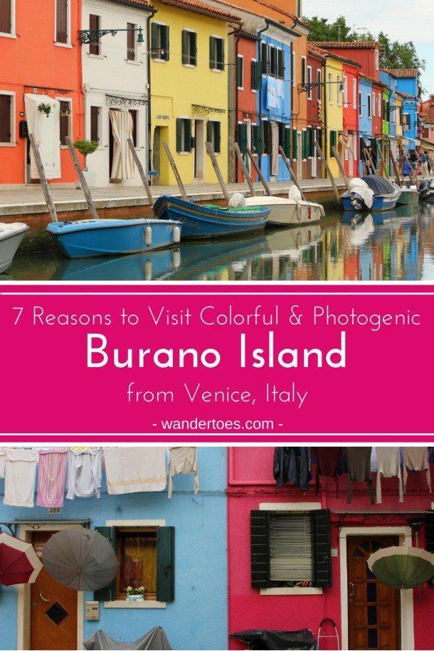 Burano, Venice, Italy:  This colorful island will entice you to take photos at every new view, but it also offers a rich lace history and slower pace than other island in the area.  Easily reached by Vaporetto from Venice, it's a perfect side trip from the standard sites of the main islands.  Venice | Venice Italy | Islands to visit from Venice | Burano Island | Burano Lace | Photographable Island | #Burano #BuranoIsland #VeniceDayTrips #colorfulislands #instagrammableislands #ItalyTravel