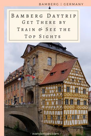 Bamberg, Germany: A Bamberg Day Trip by train is an easy, historic, and photo-rich day trip from Nuremberg. If you have 1 day in Bamberg, check out these easily walkable sites from the train station! #BambergDayTrip #BambergByTrain #BambergTrainStation #BambergAltesRathaus #BambergOldTownHall #BambergCathedral