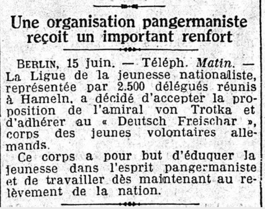 1930-06-16_Deutsch Freischar - Le Matin 16-06-1930