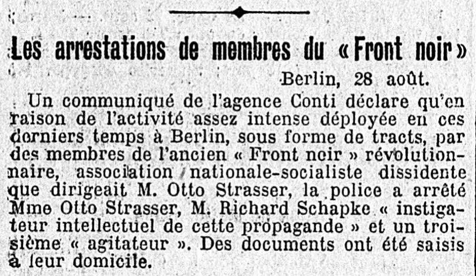 29.08.1929 - Le Temps - Les arrestations de membres du front noir - Schapke