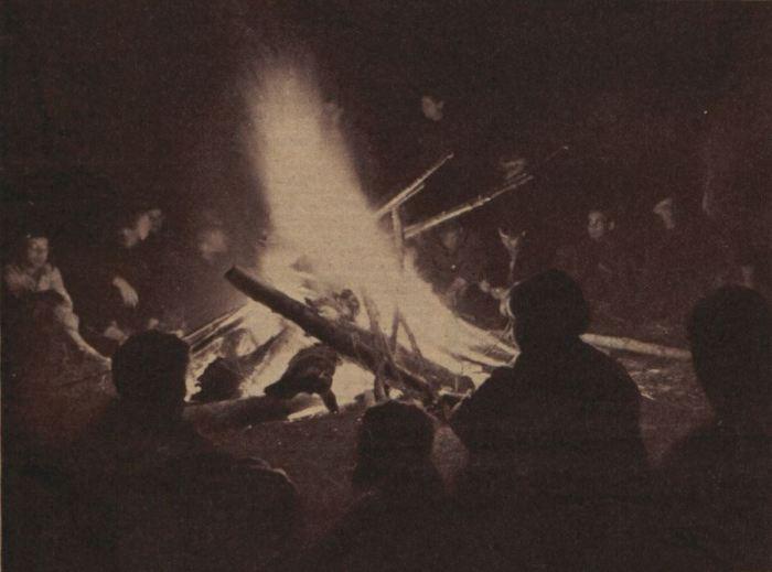 Camping hivernal - Feu de camp