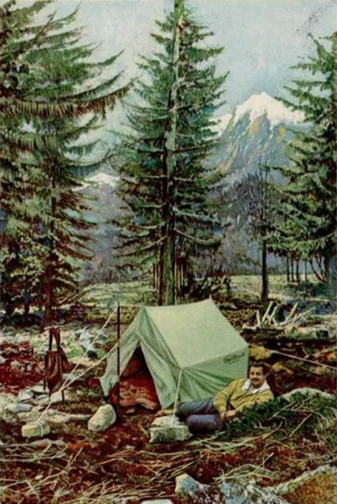 Campeur sous la tente - Publicité des tentes Milano Moretti