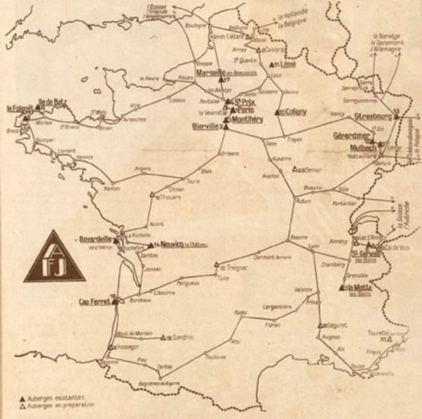 1933-06-21_Vu_275_Les auberges de jeunesse_Carte de France des Auberges de jeunesse