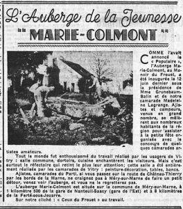 1938_06_26_Le_Populaire_L'auberge de la jeunesse Marie Colmont_article