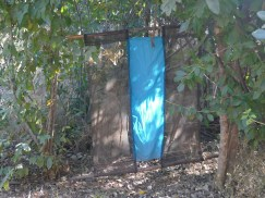 Tsetse fly trap: the blue attracts them. The material is soaked in pesticide to kill them when they land on it. Easy to move around, depending on where they are most needed.