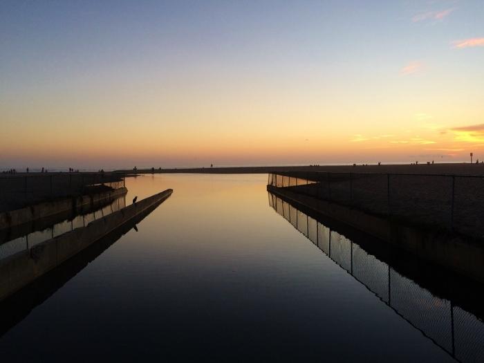santa monica water sunset