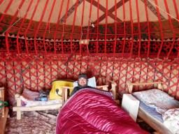 Daniels dream coming true: Sleeping in a yurt. Best moment: When the sun comes up an the sunrays shine through the sheepwool of which the roof is made.// Daniels Traum wird wahr: Er darf in einer Jurte schlafn Bester Moment: wenn die Sonne morgens aufgeht und die Sonnenstraheln durch die Schafswolle, aus der das Dach ist, scheinen.