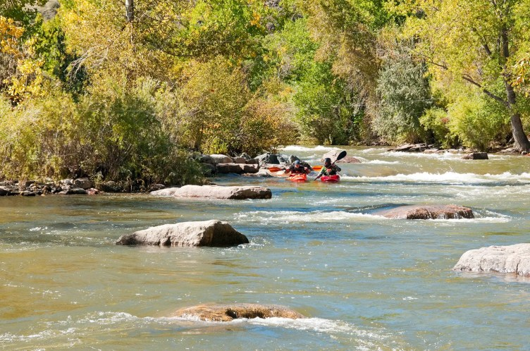 Kayakers on Clear Creek