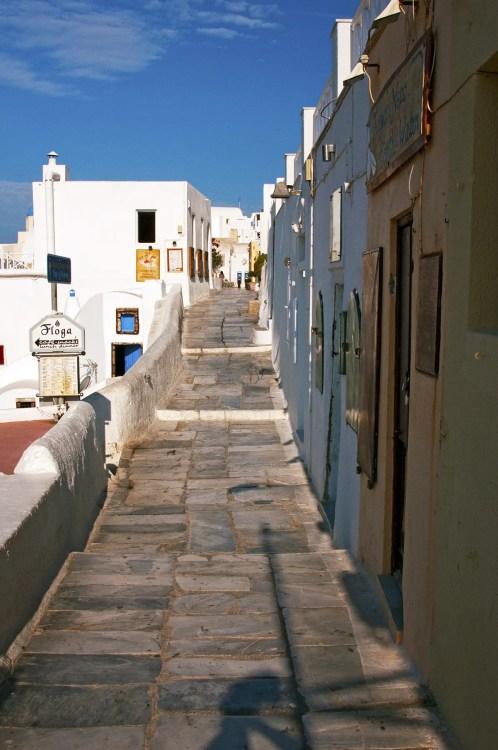 Pedestrian street, morning, Oia. Santorini, Greece
