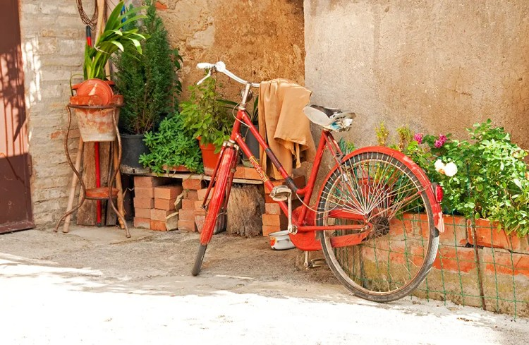 Bike in front of house, Bevagna, Italy