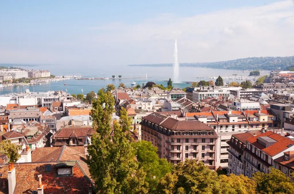 View of Geneva and Lake Geneva from tower of St Paul's