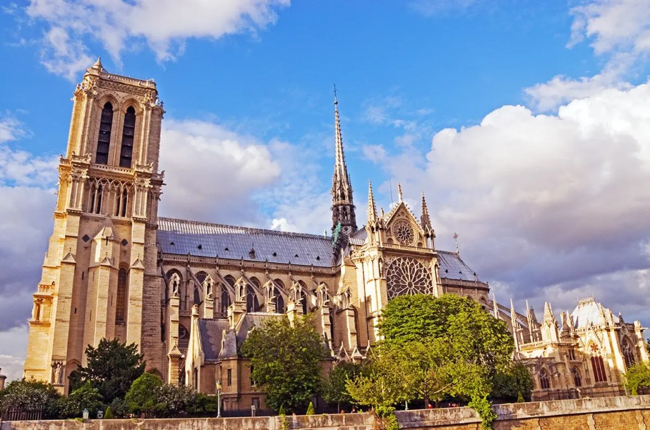 Exterior of Notre Dame from River Seine