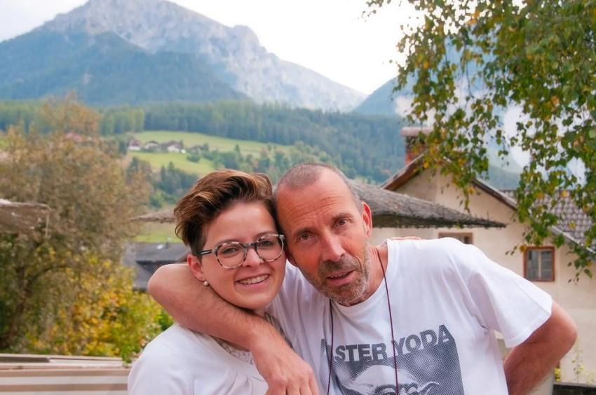 Camilla with her father, Marco, of the Hotel Olympia in San Vigilio di Marebbe, Italy