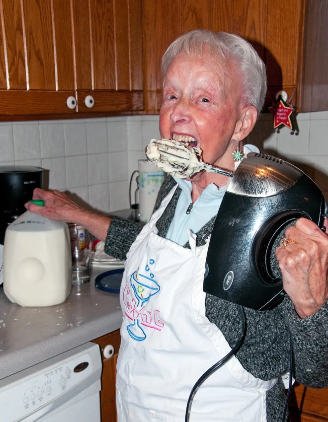 Mom making the mash potatoes - 2012