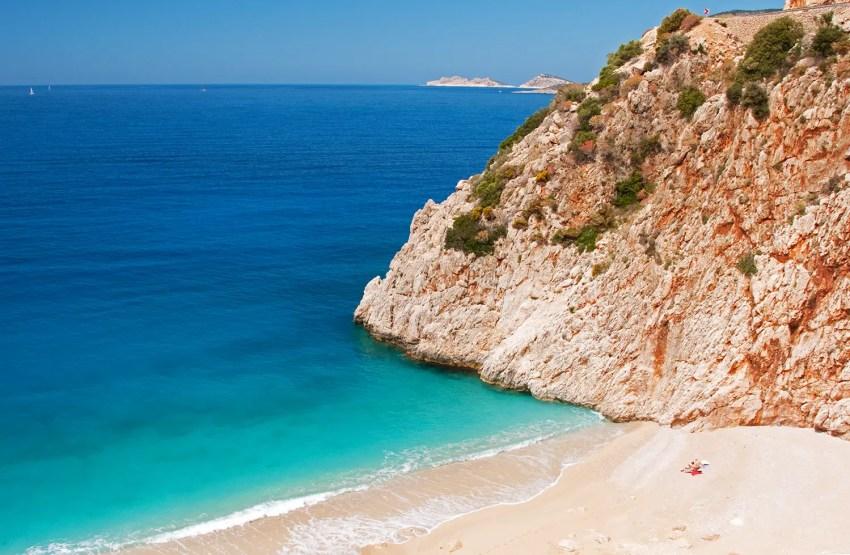 Sandy cove between Patara and Çirali along the southern coast of Turkey