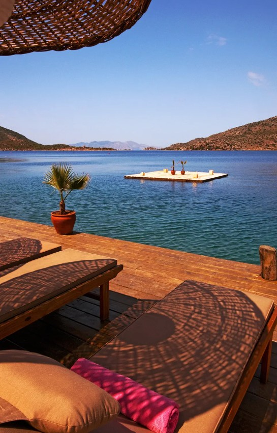 View across sundeck to Aegean Sea, Bozburun, Turkey