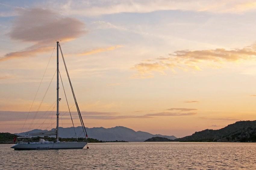 Sailboat on Aegean Sea, Bozburun, Turkey, sunset