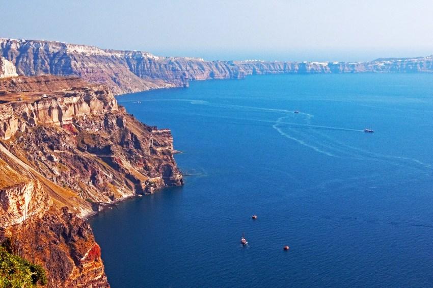 View across cliffs and Aegean Sea, Fira (Thira), Santorini, Greece