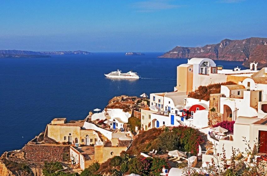 Caldera and cruise ship on the Aegean Sea, Oia, Santorini, Greece