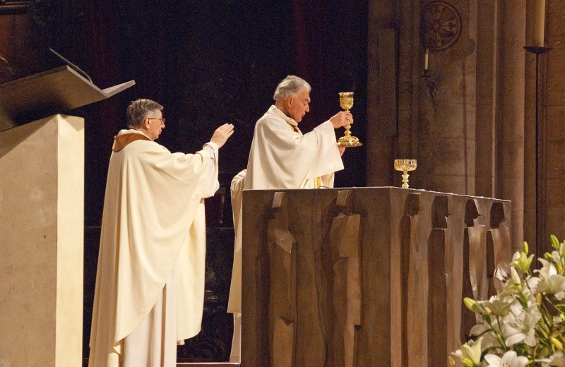 Catholic mass in Notre Dame Cathedral, Paris, France