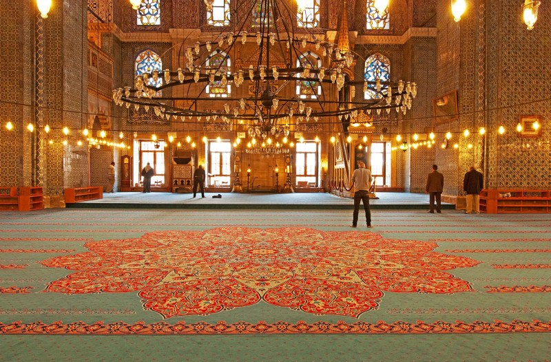 Inside a mosque in Istanbul, Turkey