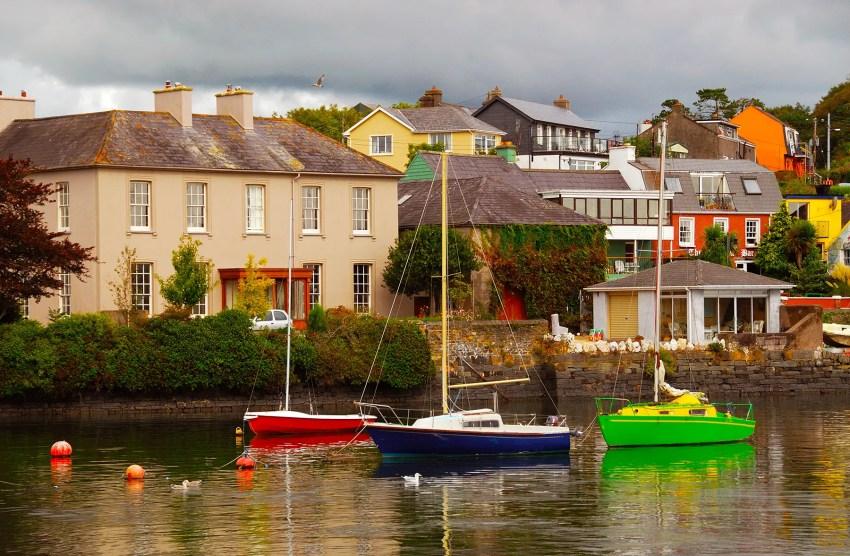 Colorful sailboats anchored in Kinsale Harbor, Kinsale, County Cork, Ireland