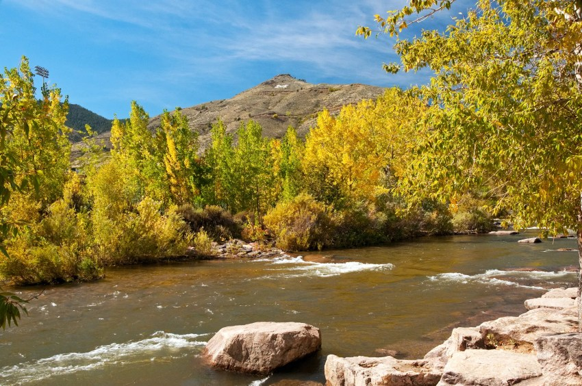 Lookout Mountain and Clear Creek in autumn, Golden, Colorado